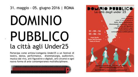 DOMINIO PUBBLICO cerca artisti Under 25: iscriviti subito